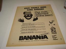 ANCIENNE PUBLICITE BANANIA ALIMENT DE QUALITE 1965 - Cartelli Pubblicitari