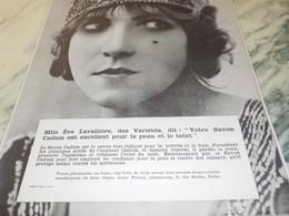 ANCIENNE PUBLICITE SAVON CADUM  MLLE EVE LAVALLIERE  1913 - Other