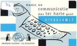 NEDERLAND CHIP TELEFOONKAART CRE 316 * Drukkerij Uleman  *  Telecarte A PUCE PAYS-BAS * ONGEBRUIKT MINT - Netherlands