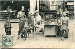 INDOCHINE CARTE POSTALE DE COCHINCHINE -SAIGON -CHINOIS MARCHAND DE SOUPE AYANT VOYAGEE - Postales