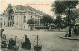 INDOCHINE CARTE POSTALE DE COCHINCHINE -SAIGON -THEATRE AYANT VOYAGEE - Postales