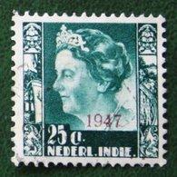 25 Ct Overprint Koningin Wilhelmina NVPH 327 1947 Gestempeld / Used NEDERLAND INDIE / DUTCH INDIES - Netherlands Indies