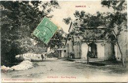 INDOCHINE CARTE POSTALE DE L'ANNAM TOURANE -RUE DONG-KANG DEPART PHANTIET 15 AVRIL 06 ANNAM POUR LA FRANCE - Postales