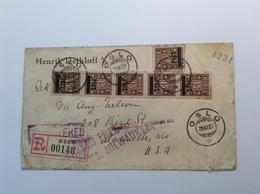 Norway 1929 Ovpt Postage Due Stamps OSLO REGISTERED Cover> Marinette WIS USA   ( Brief 166 - Noorwegen