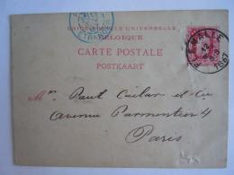 Belgique Entier Postal Postwaardestuk 1887 10 Ct Leopold II Charbonnages Flemalle -> Paris - Stamped Stationery
