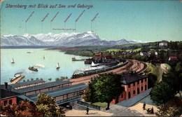 !  Alte Ansichtskarte Aus Starnberg, Bahnhof, Eisenbahn, Starnberger See, Bayern, 1909 - Gares - Avec Trains