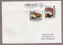 Privatpost - Biberpost - Eisenbahn - 2 Werte  VT 2E Der A.V.G. Auf Brief - BRD