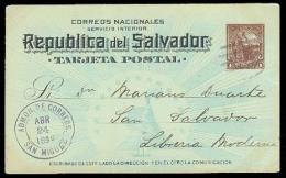 SALVADOR, EL. 1894. San Miguel / S. Salvador. 1c Stat Card. Fine Local Usage / Colon.. Cartas. Antonio Torres. - El Salvador