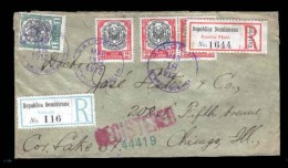 DOMINICAN REP. 1912. Salcedo To USA - Chicago. Multicolor Registered Env. With 2 Diff. Labels. V. Scarce.. Cartas. Anton - Dominican Republic