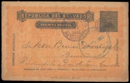 SALVADOR, EL. 1893. Salvador / Guatemala. 2cts. Stat Card. Scarce. Central America Usage. Fine.. Cartas. Antonio Torres. - El Salvador