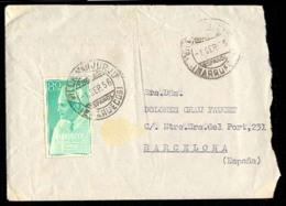 MARRUECOS. 1956 (1 Sept). Villa San Jurjo A Barcelona. Preciosa.. Cartas. Antonio Torres. - Morocco (1956-...)