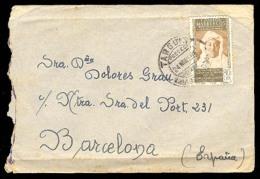 MARRUECOS. 1956 (24 Mayo). Targuist A Barcelona. Sobre Militar Franqueado.. Cartas. Antonio Torres. - Morocco (1956-...)