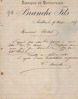 VP12.451 - Lettre - Fabrique De Bonneterie BRANCHE Fils à ARVILLERS - France