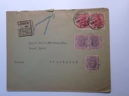 Sweden Schweden 1919 Postage Due LÖSEN Cover From Deutsches Reich Germania BERLIN > GRAND HOTEL STOCKHOLM (Brief Lettre - Schweden