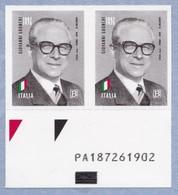 ITALIA Giovanni Gronchi Coppia Codice Alfanumerico Anno 2018 MNH** - Códigos De Barras