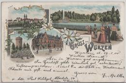 Gruss Aus Wurzen - Aussichtsturm, Post, Parkteich, Schloss - Lithographie Litho - Wurzen