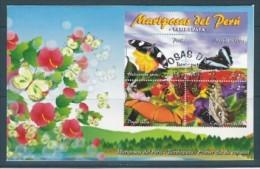 2006 PEROU 1534-37** Papillons, FDC - Peru
