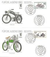 08 Motocyclette: Serie 4 Env. Premier Jour D'Allemagne (Berlin),1983 - Set Of 4 Motorcycle FDCs From Germany. Motor-bike - Motos
