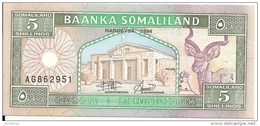 SOMALILAND 5 SHILLINGS 1994 UNC P 1 - Somalie