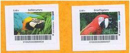 Privatpost Biberpost - Vögel - Papageien - 2 Aras (Gelbbrustara ,Grünflügelara) - Papageien