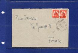 ##(DAN186/1)1949- Busta Da Pieve Di Ledro (Trento) Per Firenze Affrancata Con Coppia L.10 Democratica - 1946-60: Storia Postale