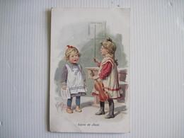 CPA Illustration Fantaisie Leçon De Chant 2 Petites Filles Carte Signée ?  T.B.E. - Fantaisies