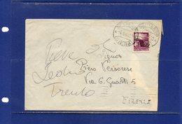 ##(DAN186/1)1948- L.20  Democratica Isolato Su Busta Da Sarteano(Siena) Per Firenze - 1946-60: Storia Postale