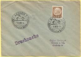 Deutsches Reich - 1938 - 3 Pf + Special Cancel Internationales Reitturnier - Drucksache - Viaggiata Da Aachen Per Worms - Horses