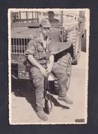 Photo Originale Militaria Portrait Marcel Oberlaender C.C.S. SP 86224 AFN Algerie Camion Militaire - Guerre, Militaire