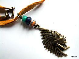 Collier Artisanal, Chef Indien, Bronze, Lien Cuir De Cerf Jaune, Pierre Jade, Lapis Lazuli, Jaspe Sédimentaire, - Necklaces/Chains