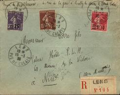 Lettre Recommandée De LENS 1930 Semeuses Avec Surcharges - France