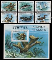 Dominica 1979 Marine Life Fish Birds Set+s/s MNH - Maritiem Leven