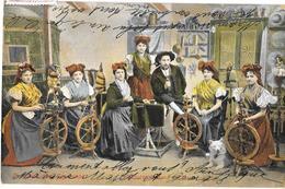 Tchéquie -  GRUSS AUS DEM EGERLANDER    - Personnages Typiques - Femmes Au Rouet  - Expédié De MARIENBAD 1911 - Czech Republic