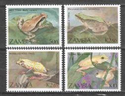Zambia 1989 Mi 470-473 MNH WWF FROGS - W.W.F.
