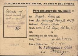 Personalausweis G Fuhrmann's Sohn Jessen Elster RAD Lager Arb Kdo 1 STO Guerre 39 45 Stalag - Germany