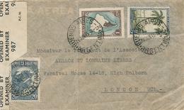 ALSACE ET LORRAINE LIBRE LONDRES - ARGENTINE LETTRE AVION  > ASSOCIATION  - CENSURE Anglaise - WW2 - France Libre - Marcofilia (sobres)