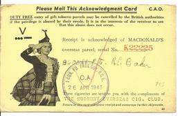 Tabac : Accusé De Reception Colis De Cigarettes Du FPO 436 Vers Sudbury Canada 27/04/1943 - Postal History