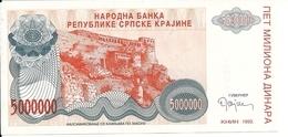 CROATIE 5 MILLION DINARA 1993 UNC P R24 - Croatie