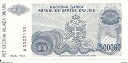 CROATIE 500000 DINARA 1993 UNC P R32 - Croatie