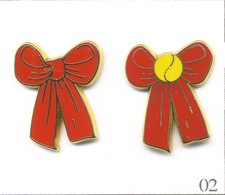 LOT 2 Pin's Tennis / Roland Garros - Fondation Arthur Ash - Ruban Rouge Avec & Sans Balle. Est. A.B. T609-02B - Tennis