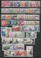 AEF  - POSTE AERIENNE YVERT N° 1/8+10/13+22/28+30/62 (SAUF 53) * CHARNIERE LEGERE - COTE = 124.6 EURO - A.E.F. (1936-1958)