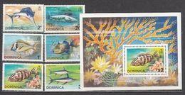 Dominica 1975 Fauna Marine Life Fish Set+s/s MNH - Vissen