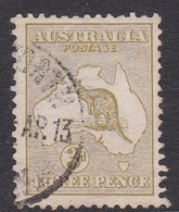 Australia SG 5 1913 Kangaroo 3d Olive, Used - 1913-48 Kangaroos