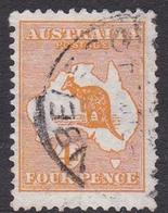 Australia SG 6 1913 Kangaroo 4d Orange, Used - Used Stamps