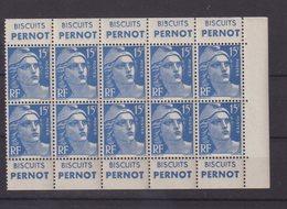 """FRANCE : N° 886 B . ** . TYPE GANDON . PANNEAU DE DIX TIMBRES DE CARNET . """" BISCUITS PERNOT """" . 1951 . - Advertising"""