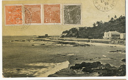 Bahia Barra   Ediçao  Almeida & Irmao P. Used To  Petit Quevilly France 4 Stamps  Light Defect Top Right Corner - Salvador De Bahia