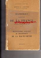 87- MONOGRAPHIE AGRICOLE HAUTE VIENNE- MINISTERE AGRICULTURE-1937-IMPRIMERIE DUPUY MOULINIER LIMOGES - Limousin