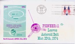 USA 1974 Pioneer-11 Satellite  Leaving Asteroid Belt Commemoraitve Cover - FDC & Commemoratives