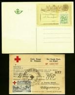 LOT BELGIQUE- 1 ENTIER POSTAL + CARTE CROIX ROUGE AVEC VIGNETTE OBLITÉRÉE-  1948- - Unclassified