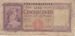 BILLETE DE ITALIA DE 500 LIRAS DEL AÑO 1961  (BANKNOTE) - [ 2] 1946-… : República